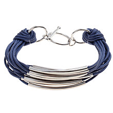 Buy John Lewis Multi Row Cord Metal Tube Bracelet, Navy Online at johnlewis.com