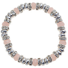 Buy John Lewis Coronation Stretch Glass Crystal Bracelet, Pink Online at johnlewis.com