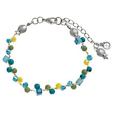 Buy One Button Short Woven Bead Bracelet, Blue Online at johnlewis.com