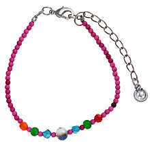 Buy One Buttton Glass Beaded Stretch Bracelet, Pink Online at johnlewis.com