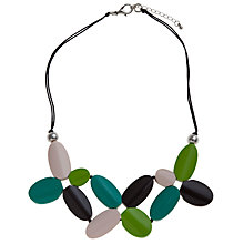 Buy One Button Short Multi Coloured Teardrop Beaded Flower Petal Collar Necklace, Black Online at johnlewis.com