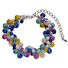 Buy One Button Threaded Wooden Beads Bracelet, Pink / Blue Online at johnlewis.com