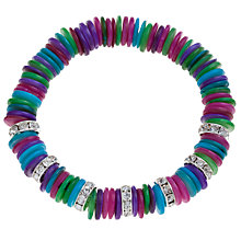 Buy One Button Acrylic Slices Diamante Rondelle Bracelet, Pink /Green Online at johnlewis.com