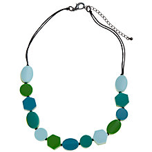 Buy One Button Short Geometric Shapes Necklace, Aqua / Lime Online at johnlewis.com