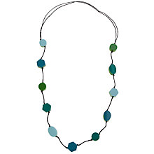 Buy One Button Long Geometric Shapes Necklace, Aqua / Lime Online at johnlewis.com