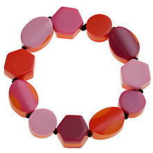 Buy One Button Stretch Geometric Shapes Bracelet, Pink / Orange Online at johnlewis.com