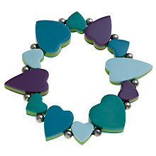 Buy One Button Stretch Sandwich Heart Bracelet, Aqua / Lime Online at johnlewis.com