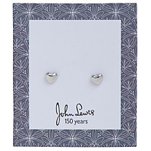 Buy John Lewis Cummersdale Print Heart Flat Stud Earrings, Silver Online at johnlewis.com