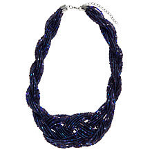 Buy John Lewis Plaited Seed Bead Necklace, Navy Online at johnlewis.com