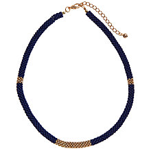 Buy John Lewis Textured Bead Necklace, Navy / Gold Online at johnlewis.com