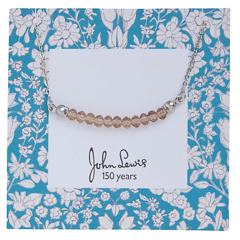 Buy John Lewis Daisychain Print Bead Bar Chain Necklace, Silver Online at johnlewis.com