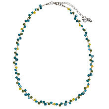 Buy One Button Short Mini Stones Necklace, Blue Online at johnlewis.com