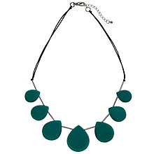 Buy One Button Short Facet Teardrop Necklace, Aqua Online at johnlewis.com