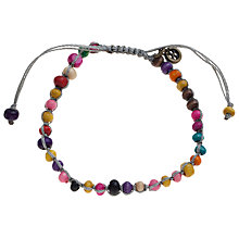 Buy One Button Tiny Wooden Colourful Beads Silk Woven Bracelet, Multi Online at johnlewis.com