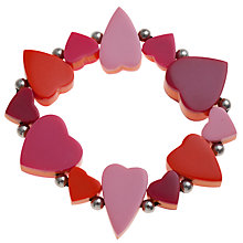 Buy One Button Stretch Sandwich Heart Bracelet, Pink / Orange Online at johnlewis.com