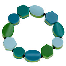 Buy One Button Stretch Geometric Shapes Bracelet, Aqua / Lime Online at johnlewis.com
