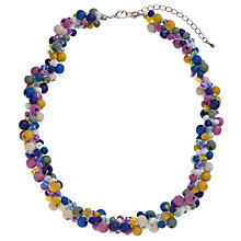 Buy One Button Threaded Wooden Beads Necklace, Pink / Blue Online at johnlewis.com