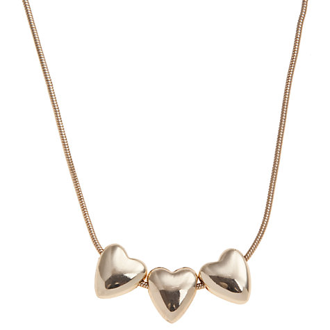 Buy John Lewis Triple Heart Chain Necklace, Gold Online at johnlewis.com