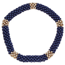 Buy John Lewis Coloured Textured Bead Stretch Bracelet, Navy/ Gold Online at johnlewis.com