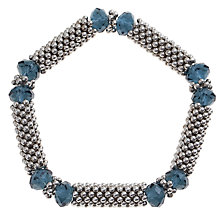 Buy John Lewis Textured Glass and Bead Stretch Bracelet, Silver/Navy Online at johnlewis.com