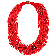 Buy John Lewis Seed Bead Multi Row Necklace, Berry Online at johnlewis.com