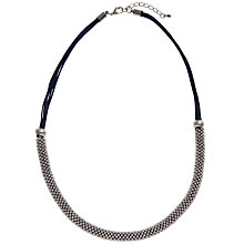 Buy John  Lewis Textured Bead Front Cord Necklace, Navy / Silver Online at johnlewis.com