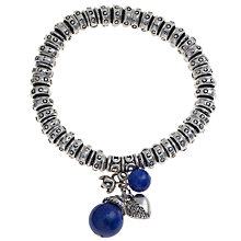 Buy John Lewis Antique Effect Mixed Charms Stretch Bracelet, Silver / Navy Online at johnlewis.com