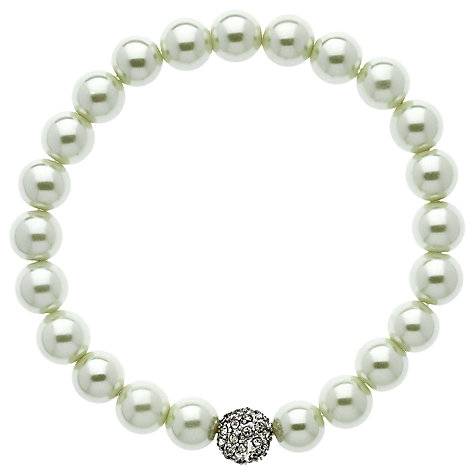 Buy Finesse Faux Pearl Silver Pave Ball Bracelet Online at johnlewis.com