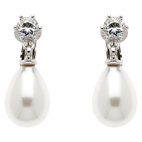 Buy Finesse Faux Pearl Swarovski Crystal Drop Earrings, White Online at johnlewis.com