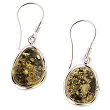Buy Be-Jewelled Sterling Silver Green Amber Hook Earrings Online at johnlewis.com