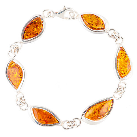 Buy Be-Jewelled Sterling Silver Marquise Cognac Amber Bracelet Online at johnlewis.com