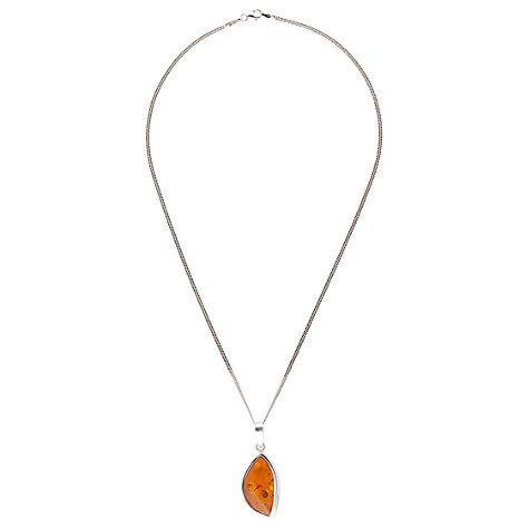 Buy Be-Jewelled Sterling Silver Marquise Cognac Amber Pendant Necklace Online at johnlewis.com