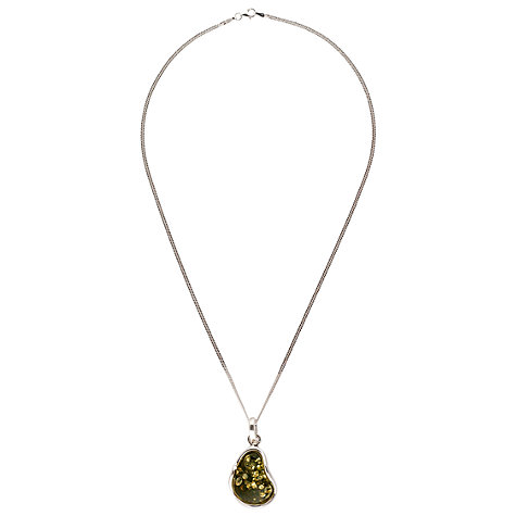Buy Be-Jewelled Sterling Silver Green Amber Pendant Necklace Online at johnlewis.com