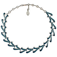 Buy Eclectica 1950s Fluid Chrome Plated Enamel Necklace, Blue Online at johnlewis.com