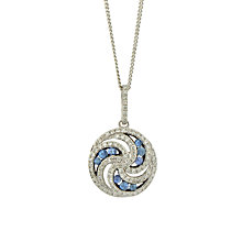 Buy Sharon Mills 9ct White Gold Sapphire Diamond Swirl Pendant Necklace Online at johnlewis.com