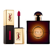 Buy Yves Saint Laurent Rouge Pur Couture Vernis À Lèvres, 09 Red Flash and Opium Eau de Toilette, 50ml Online at johnlewis.com