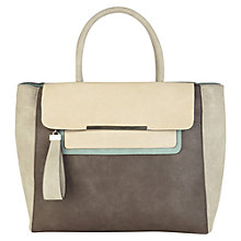 Buy Warehouse Chunky Colour Block Tote, Light Grey Online at johnlewis.com