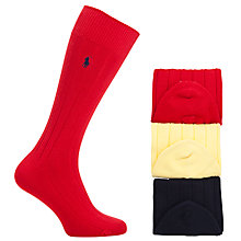 Buy Polo Ralph Lauren Socks, Pack of 3, One Size, Red/Navy/Yellow Online at johnlewis.com