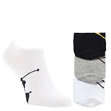 Buy Polo Ralph Lauren Trainer Socks, 3 Pack, One Size, Grey/Multi Online at johnlewis.com