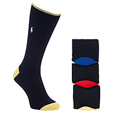 Buy Polo Ralph Lauren Heel and Toe Socks, Pack of 3, One Size, Black Online at johnlewis.com