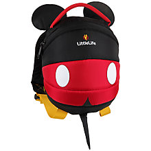 Buy LittleLife Mickey Mouse Toddler Day Sack, Black/Red Online at johnlewis.com