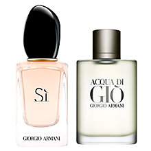 Buy Giorgio Armani Acqua di Giò Homme Eau de Toilette Spray, 100ml and Si Eau de Parfum, 50 ml Online at johnlewis.com
