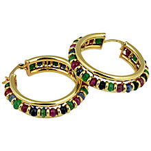 Buy Sharon Mills 14ct Gold Ruby Sapphire Emerald Hoop Earrings Online at johnlewis.com