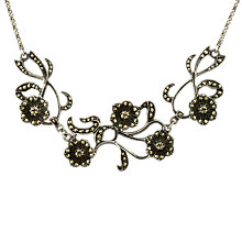 Buy Sharon Mills 1950s Silver Marcasite Roses Necklace Online at johnlewis.com