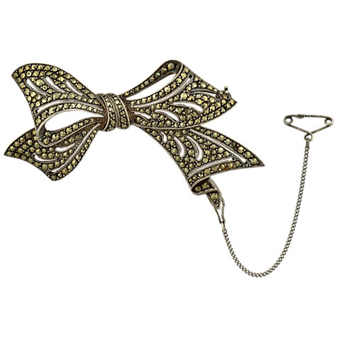 Buy Sharon Mills 1950s Silver Marcasite Bow Brooch Online at johnlewis.com