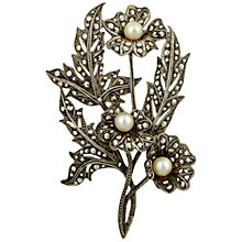 Buy Sharon Mills 1950s Silver Marcasite Pearl Flower Brooch Online at johnlewis.com