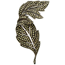 Buy Sharon Mills 1950s Silver Marcasite Twisted Leaf Brooch Online at johnlewis.com