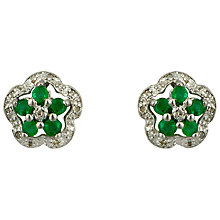Buy Sharon Mills 9ct White Gold Emerald Stud Earrings Online at johnlewis.com