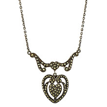 Buy Sharon Mills 1950s Silver Marcasite Heart Pendant Necklace Online at johnlewis.com