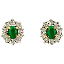 Buy Sharon Mills 9ct Gold Diamond Emerald Stud Earrings Online at johnlewis.com